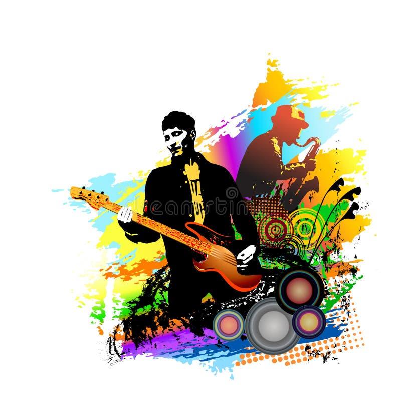 Bakgrund för musikfestivalen för partiet, konserten, jazz, vaggar festivaldesign med den musiker-, gitarrist- och saxofonspelaren royaltyfri illustrationer