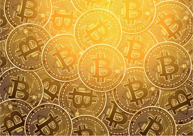 Bakgrund för mynt Bitcoin för digital valuta guld- royaltyfri illustrationer