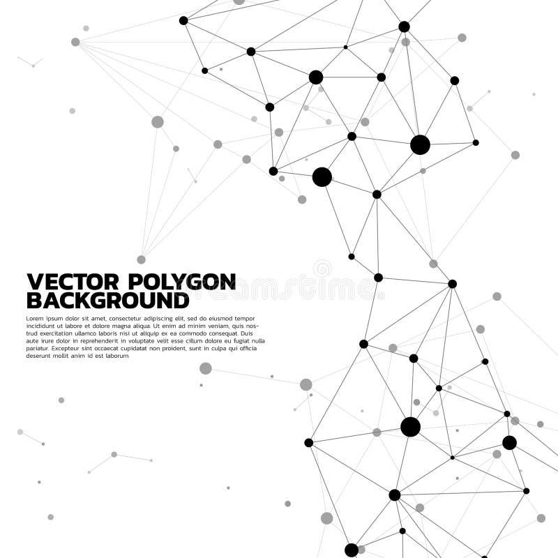 Bakgrund för nätverksförbindande prickpolygon vektor illustrationer