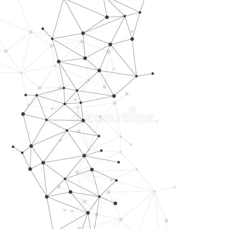 Bakgrund för nätverksförbindande prickpolygon royaltyfri illustrationer