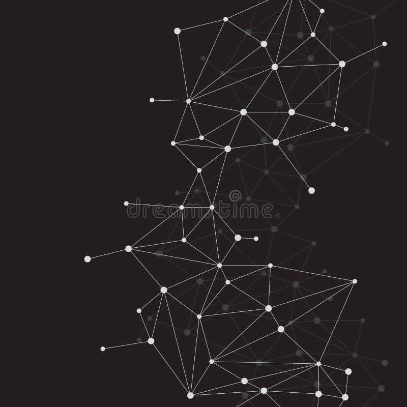 Bakgrund för nätverksförbindande prickpolygon: royaltyfri illustrationer