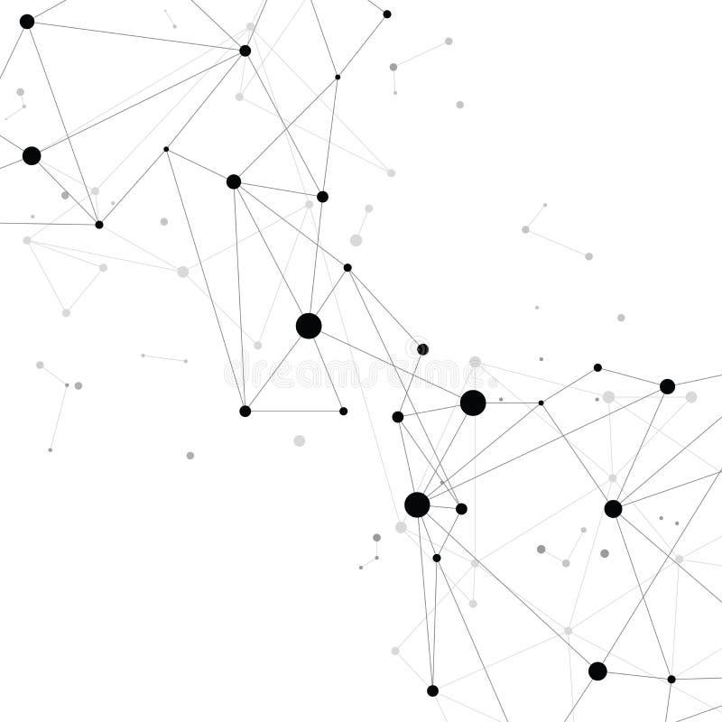 Bakgrund för nätverksförbindande prickpolygon: Begrepp av nätverket, affär som förbinder, molekyl, data, kemikalie vektor illustrationer