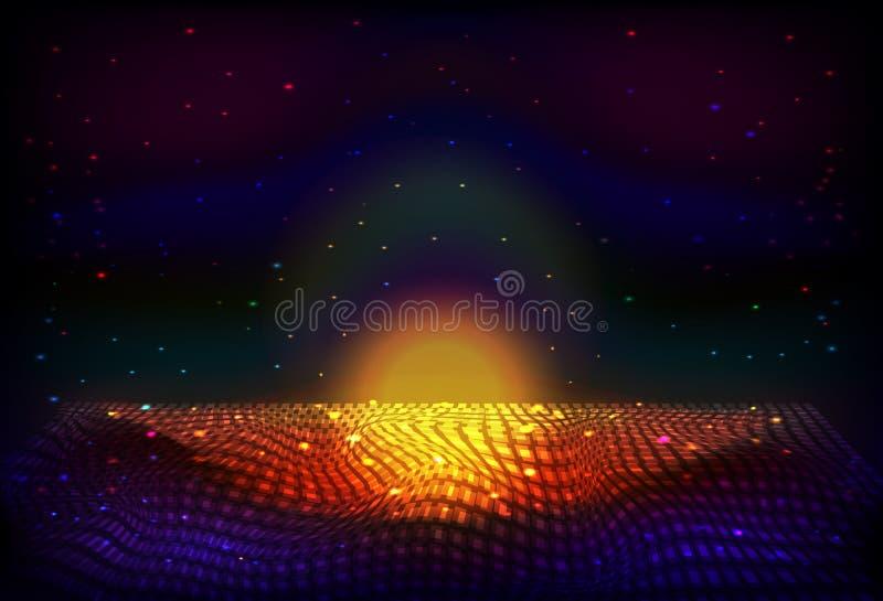 Bakgrund för natt för oändligt utrymme för vektor Matris av glödande stjärnor med illusion av djup och perspektivet stock illustrationer