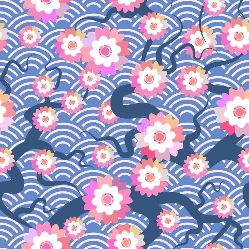 Bakgrund för natur för modell för Sakura blommor sömlös med blomningfilialen av rosa blommor Cirkel p för våg för filialer för kö stock illustrationer