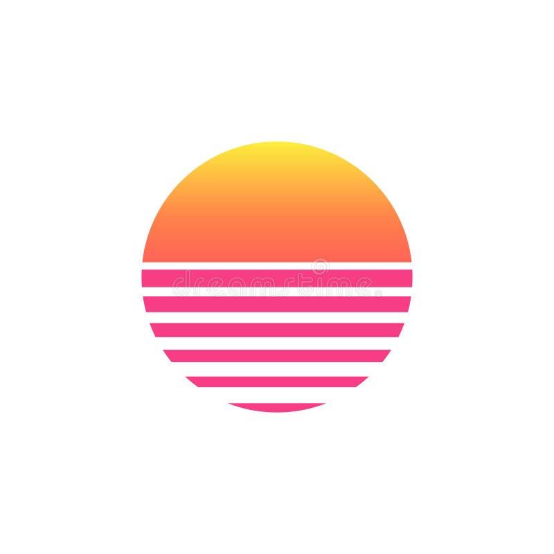bakgrund för neon för 80-talsolnedgång retro symbol för solnedgång för raster för tappning för utrymme för sol för 90-talaffisch  vektor illustrationer
