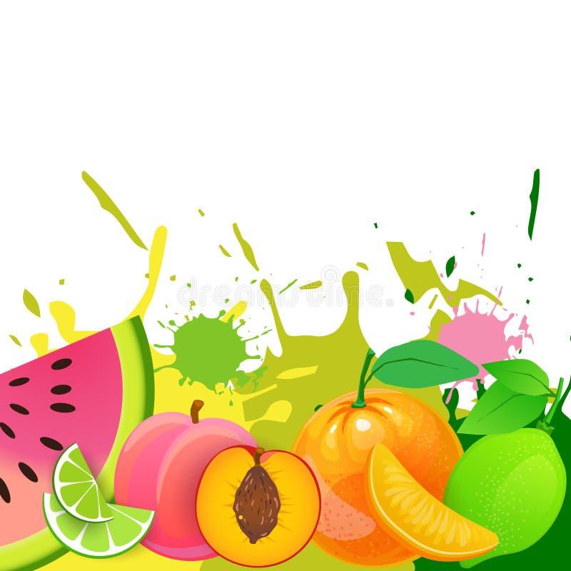 Bakgrund för nya frukter över begrepp för gårdsprodukter för organisk och sund mat för målarfärgfärgstänk naturligt royaltyfri illustrationer