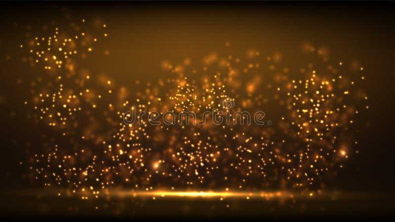 Bakgrund för nytt år för glöd guld- ljus vektor illustrationer