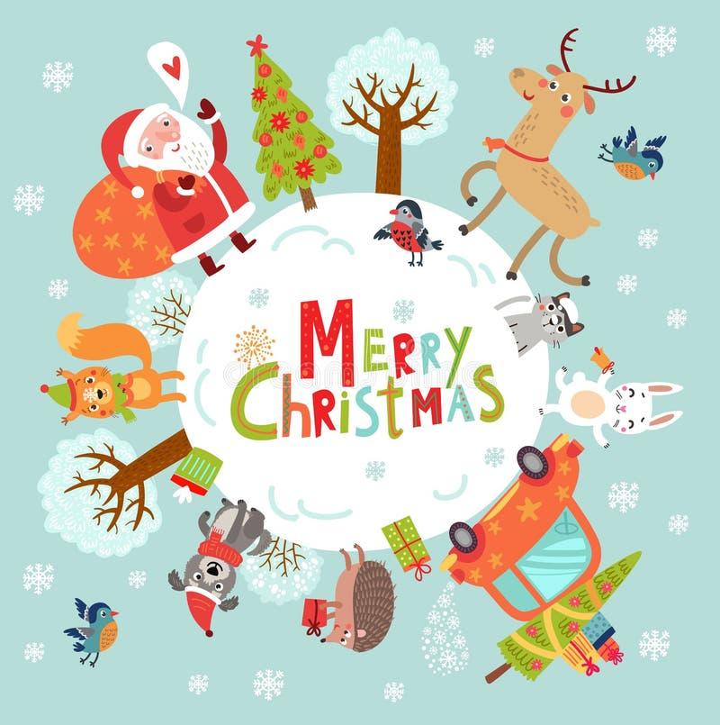 Bakgrund för nytt år för jul med jultomten och älskvärda tecken royaltyfri illustrationer