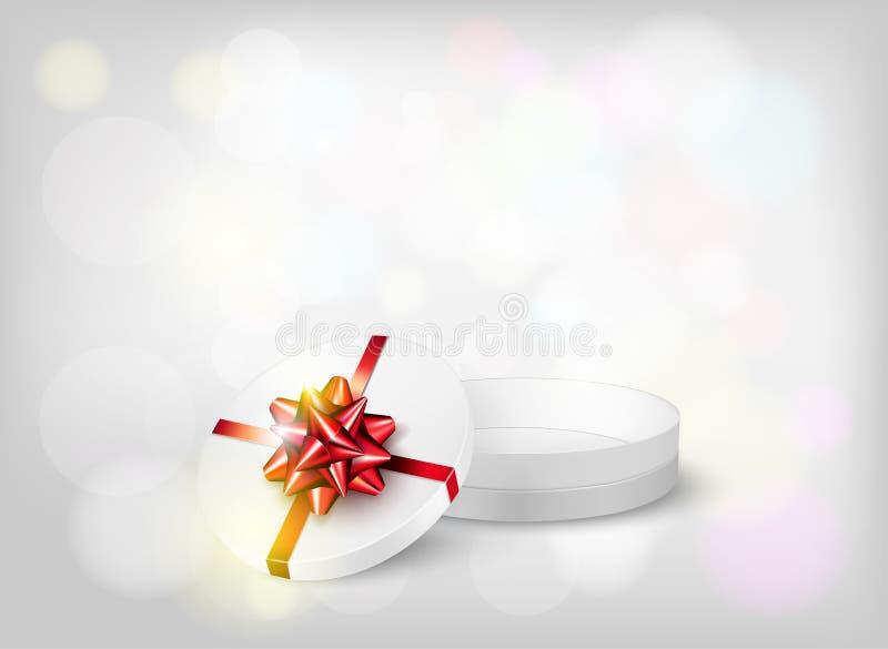 Bakgrund för nytt år med den öppna gåvaasken och den röda pilbågen vektor illustrationer