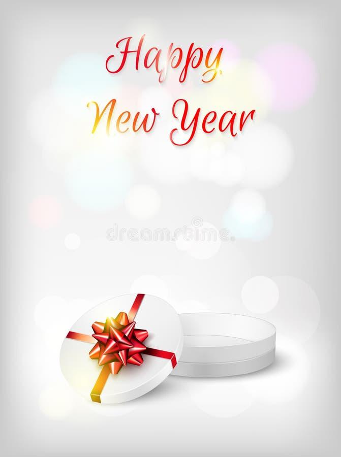 Bakgrund för nytt år med den öppna gåvaasken och den röda pilbågen royaltyfri illustrationer