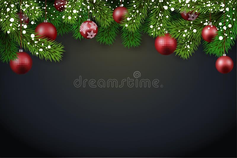 Bakgrund för nytt år med granfilialer och röda julbollar royaltyfri bild