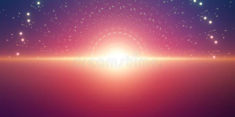 Bakgrund för oändligt utrymme för vektor Matris av glödande stjärnor med illusion av djup och perspektivet stock illustrationer