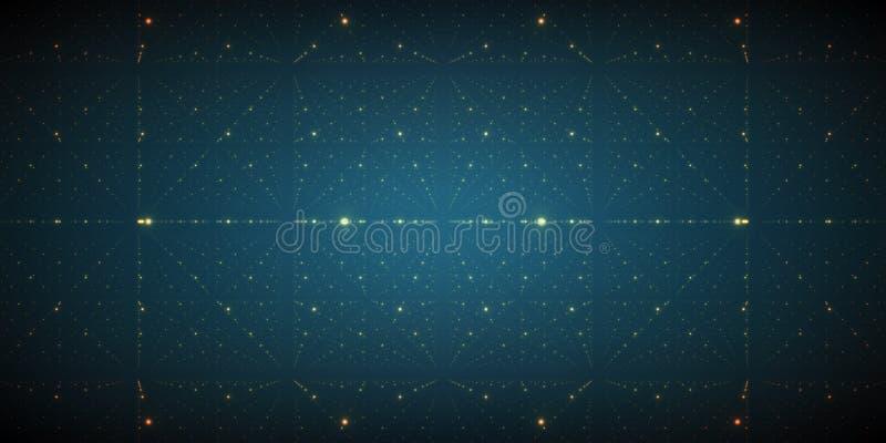 Bakgrund för oändligt utrymme för vektor Matris av glödande stjärnor med illusion av djup och perspektivet royaltyfri illustrationer