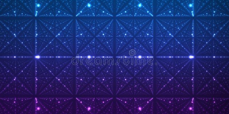 Bakgrund för oändligt utrymme för vektor Matris av glödande stjärnor med illusion av djup och perspektivet vektor illustrationer