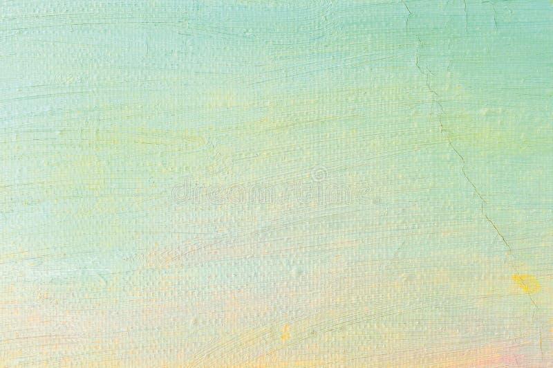 Bakgrund för olje- målarfärg, ljusa ultramarine blått gulnar rosa färger, turkos, stora borsteslaglängder som målar specificerad  royaltyfria bilder
