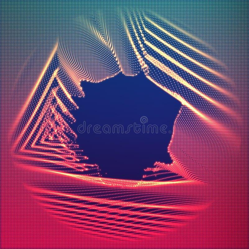 Bakgrund för oväsen för punkt för vektorabstrakt begrepp glödande röd Samling av glödande punkter i form av förvriden yttersida stock illustrationer