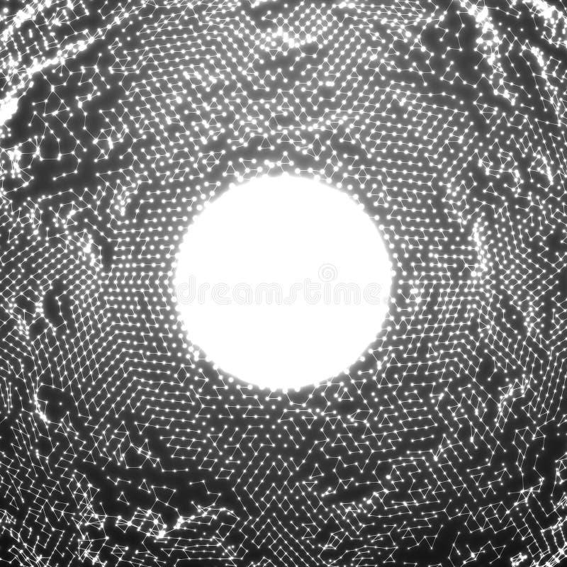 Bakgrund för oväsen för punkt för vektorabstrakt begrepp glödande Samling av glödande punkter i form av förvriden yttersida stock illustrationer