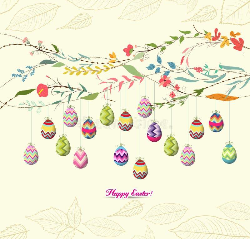 Bakgrund för påskägg med blommor royaltyfri illustrationer