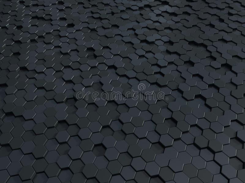 Bakgrund för paneler 3d för abstrakt honungskaka metallisk Metallisk sexhörnig mörk bakgrund eller textur vektor illustrationer