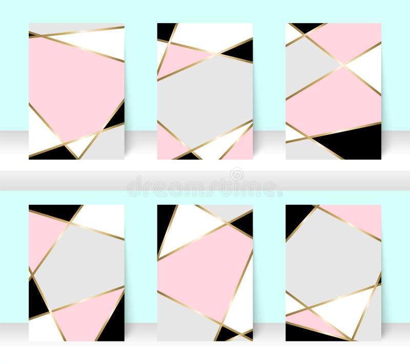 Bakgrund för pastellabstrakt begreppmodell med den guld- linjen, for design för affärsbroschyrräkning Rosa färger, vit, grå färge vektor illustrationer