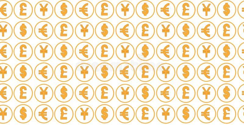 Bakgrund för pengarvalutamodell världsvaluta av dollar-, euro-, pund- och yenallsånger royaltyfri illustrationer