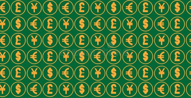 Bakgrund för pengarvalutamodell världsvaluta av dollar-, euro-, pund- och yenallsånger vektor illustrationer