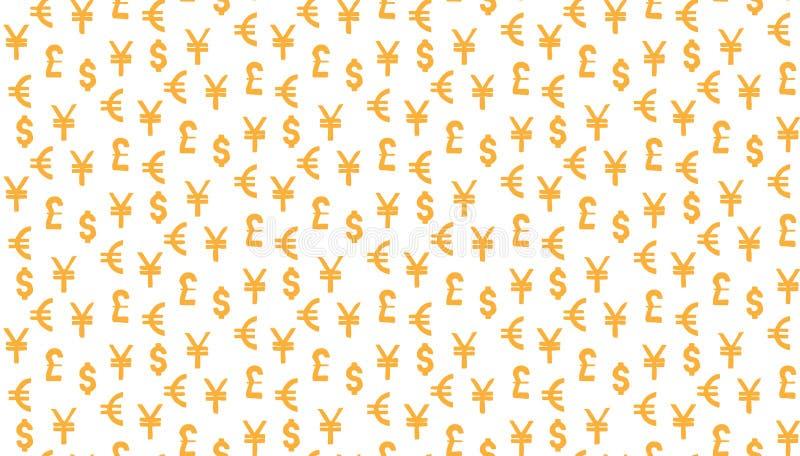 Bakgrund för pengarvalutamodell världsvaluta av dollar-, euro-, pund- och yenallsånger stock illustrationer