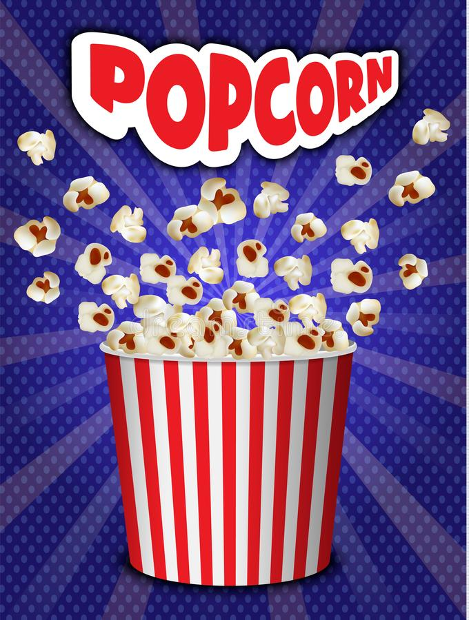Bakgrund för popcornexplosionbegrepp, realistisk stil royaltyfri illustrationer