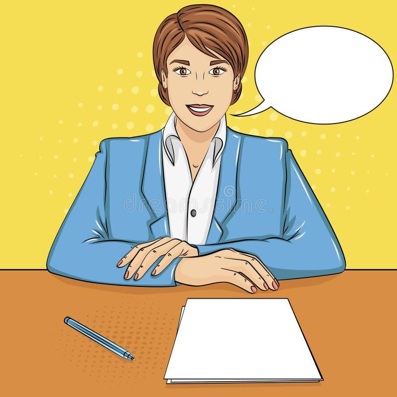 Bakgrund för popkonst affärskvinna, framstickande på tabellen, mottagandepersonal, jobbintervju vektortextbubbla stock illustrationer