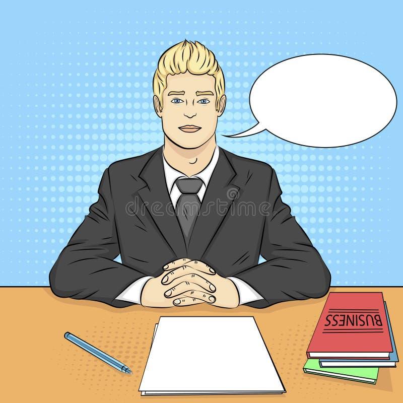 Bakgrund för popkonst Affärsman framstickande på tabellen, mottagandepersonal, jobbintervju vektortextbubbla stock illustrationer