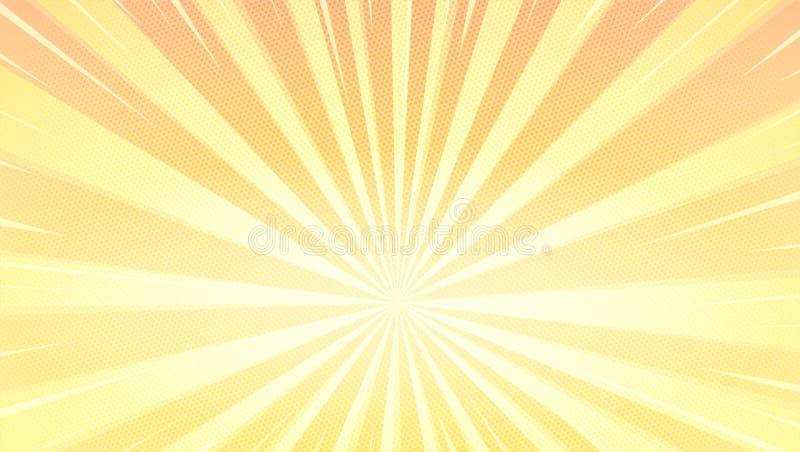 Bakgrund för popkonst med solstrålar och rastrerad effekt Abstrakt bakgrund med rastrerade prickar Randig retro ram med royaltyfri illustrationer