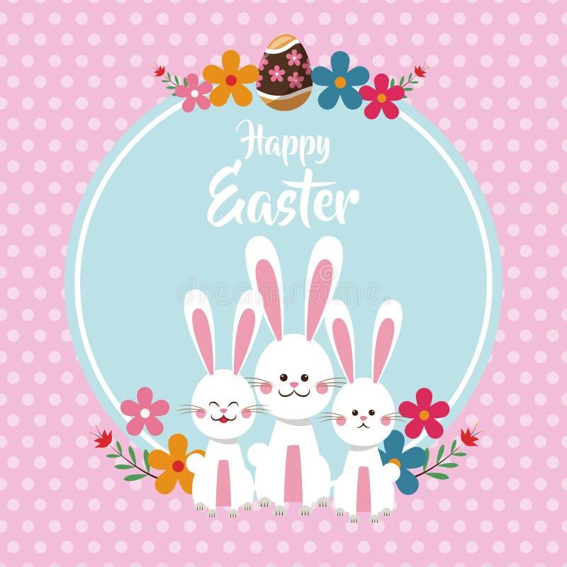 bakgrund för prickar för lyckliga easter gulliga kaniner blom- stock illustrationer