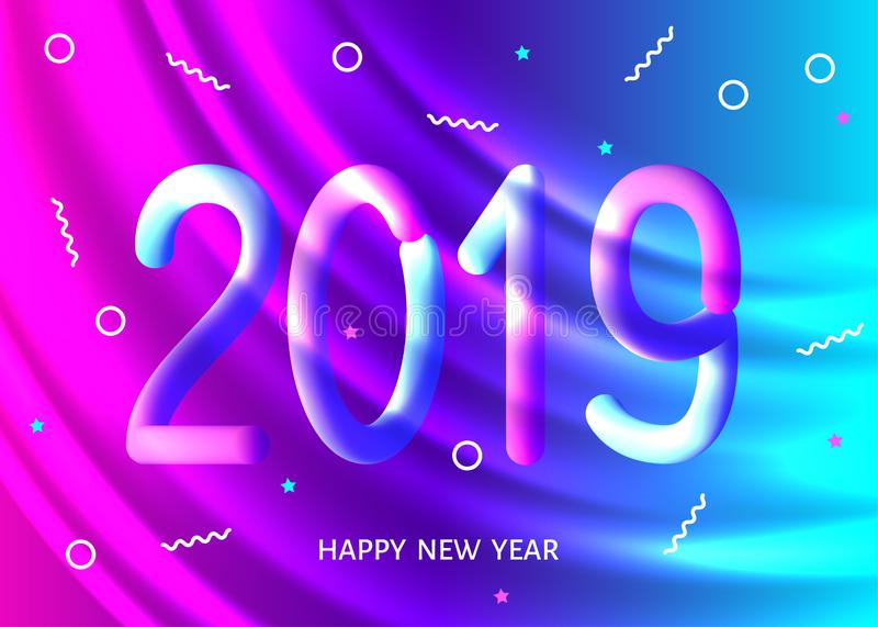 Bakgrund för purpurfärgat neon för nytt år 2019 krabb vektor illustrationer