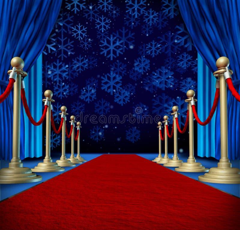 Bakgrund för röd matta för vinter stock illustrationer