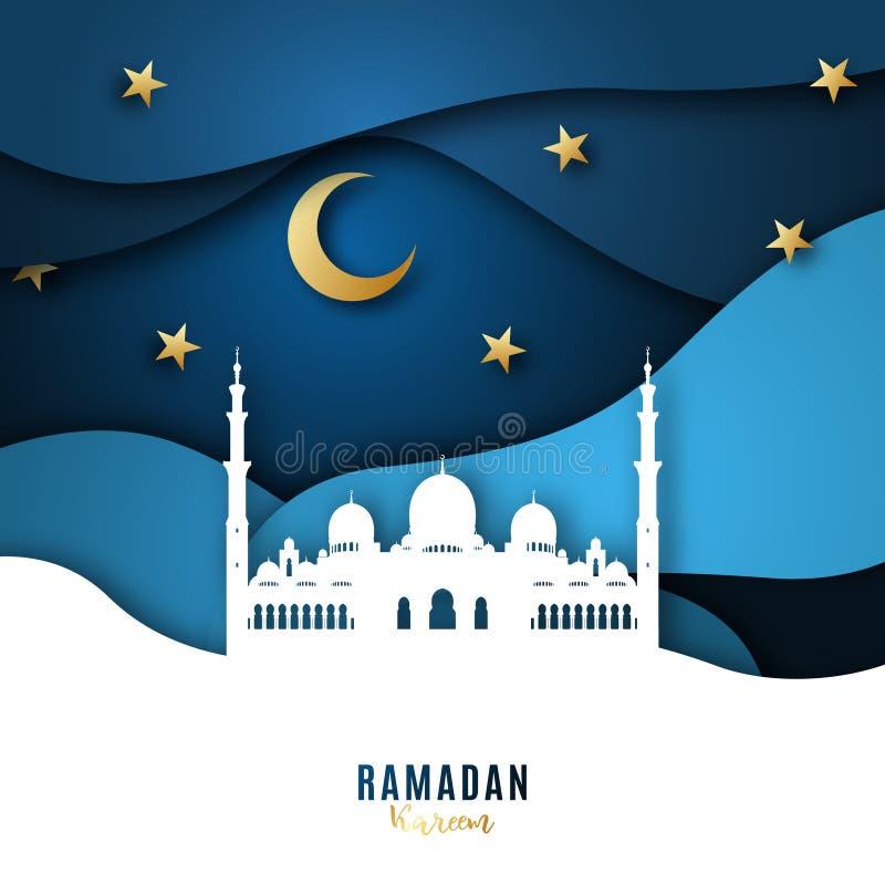 Bakgrund för Ramadan Kareem papperskonst med moskén, månen och stjärnor royaltyfri illustrationer