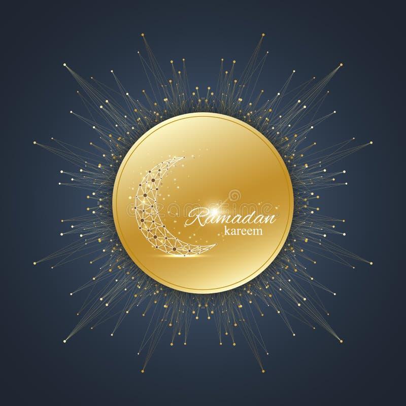 Bakgrund för Ramadan Kareem texthälsningar Guld- måne som göras från förbindelselinje och prickar Svart bakgrund med guld- stock illustrationer