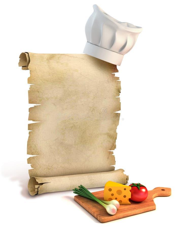 Bakgrund för recept, laga mat spetsar, meny vektor illustrationer