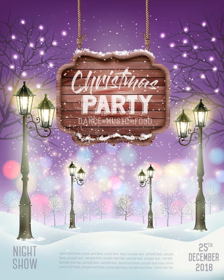 Bakgrund för reklamblad för julferieparti med aftonvinterlandskap vektor illustrationer