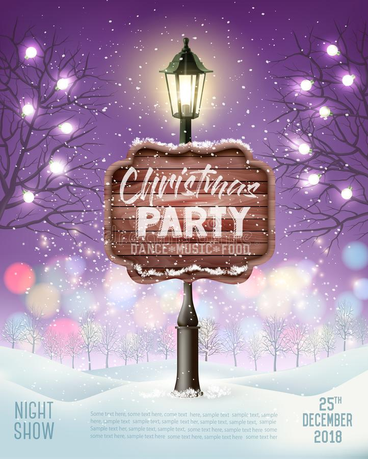 Bakgrund för reklamblad för parti för glad jul med den aftonvinterlandskap och lyktstolpen royaltyfri illustrationer