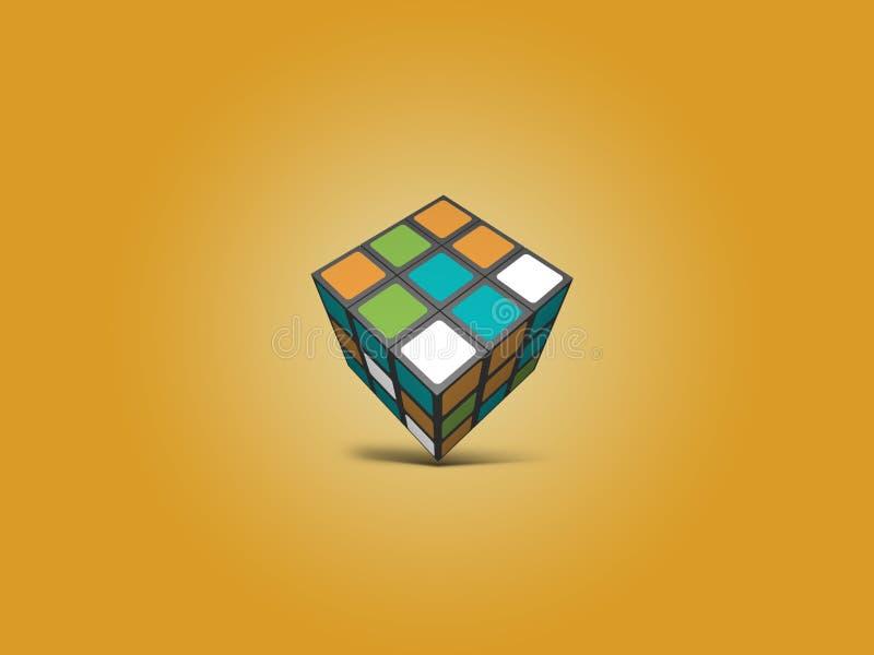 Bakgrund för Rubix kubillustration royaltyfri illustrationer