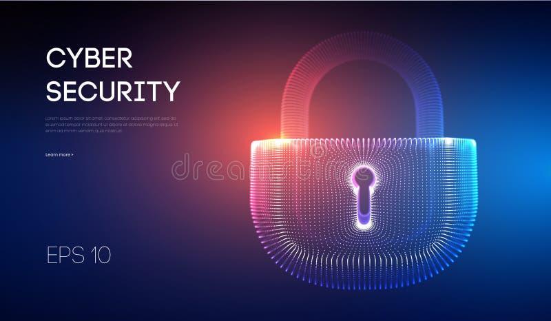 Bakgrund för säkerhet för Coputer internetcyber Brotts- vektorillustration för Cyber digital låsvektorillustration EPS 10 royaltyfri illustrationer