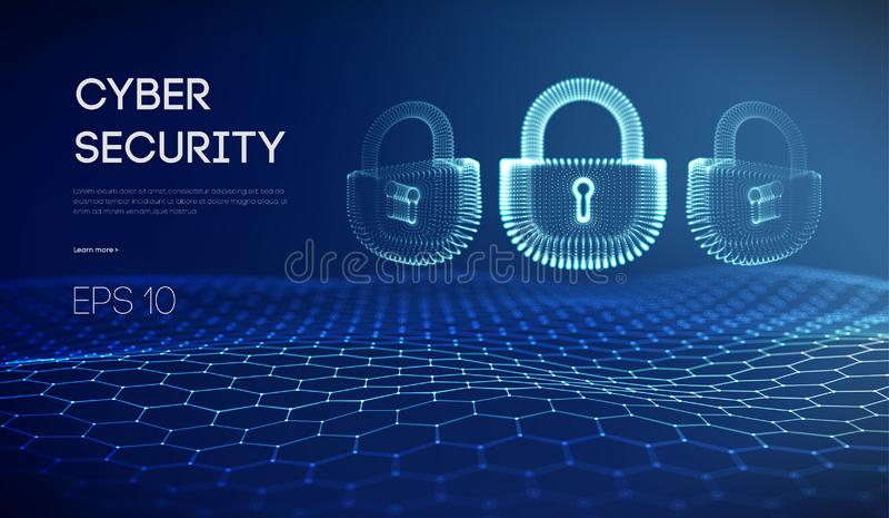 Bakgrund för säkerhet för Coputer internetcyber Brotts- vektorillustration för Cyber digitalt låsa stock illustrationer