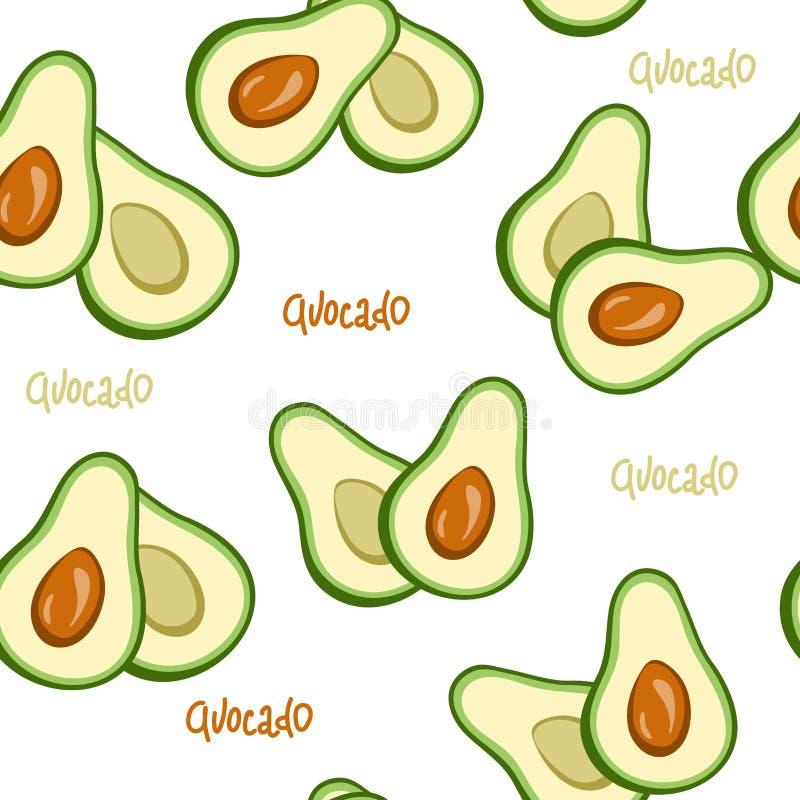 Bakgrund för sömlös frukt för modell för avokado vit exotisk handteckningsmålarpensel Hälsokost prydnad för tygtapettextil, stock illustrationer