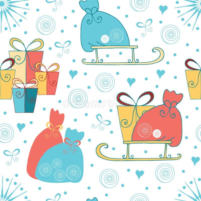Bakgrund för sömlös jul eller för det nya året med gåvor, pulkan, Santas hänger löst gjort på tecknad filmstil vektor illustrationer