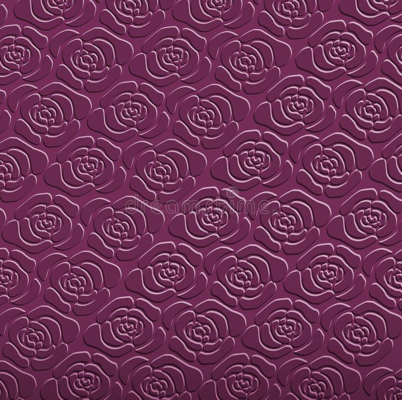 Bakgrund för sömlös modell för rosor purpurfärgad royaltyfri illustrationer