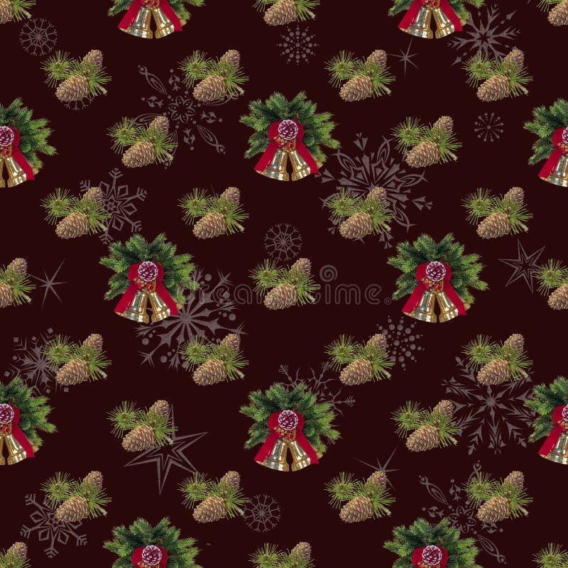 Bakgrund för sömlöst nytt år för feriegarnering maroon royaltyfri foto