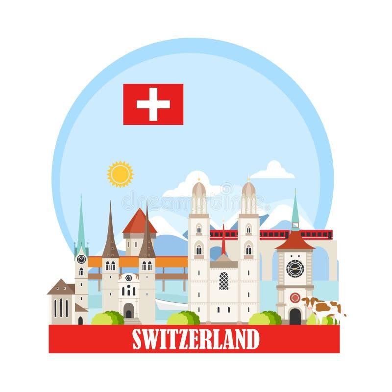 Bakgrund för Schweiz loppgränsmärken stock illustrationer