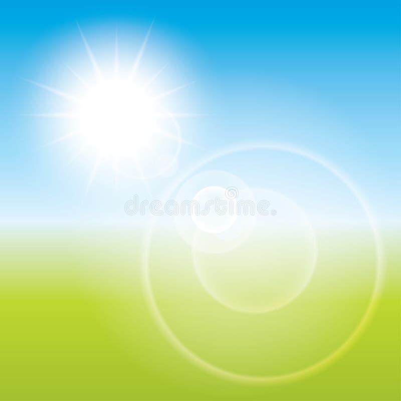 Bakgrund för signalljus för sommarsollins. Landskapsuddighet. royaltyfri illustrationer