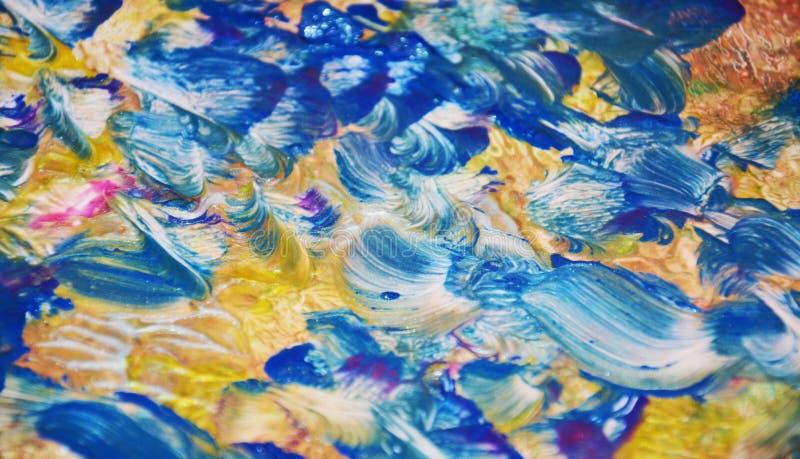 Bakgrund för silver för guling för målarfärgguldblått, blå tonbakgrund för guld arkivfoto