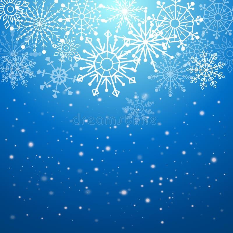 Bakgrund för silvervinterabstrakt begrepp Jul med snöflingor vektor stock illustrationer